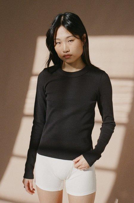NEUW Jonesy Ribbed Cotton Long Sleeve Top –Black