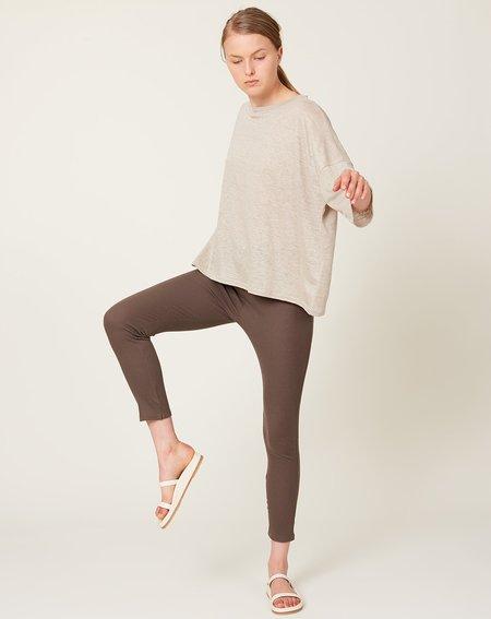 ICHI ANTIQUITES Rib Cotton Silk Leggings - Charcoal