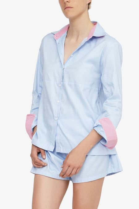 The Sleep Shirt Button Down Top Cambridge Oxford Pink Trim
