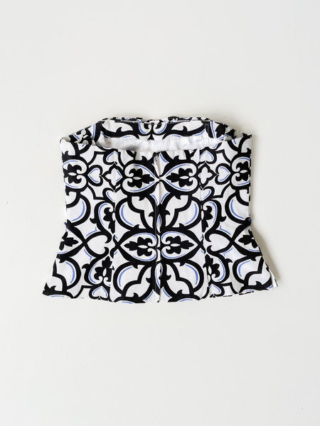 Vintage Printed Cropped Bodice Top - black/white