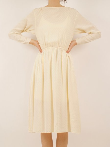 Vintage silk boatneck dress - CREAM