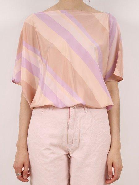 vintage silky bat wing blouse - pastel pinks/purples