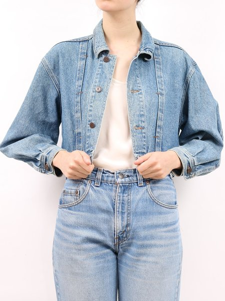 vintage united colors of benetton crop jean jacket - mid-wash