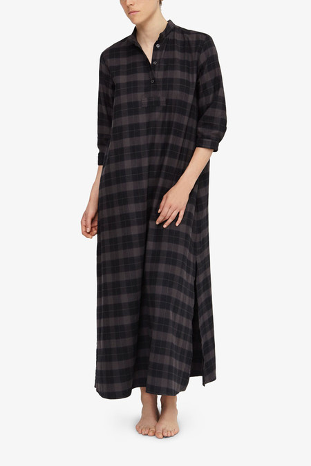 The Sleep Shirt Full Length Sleep Shirt Black and Grey Flannel