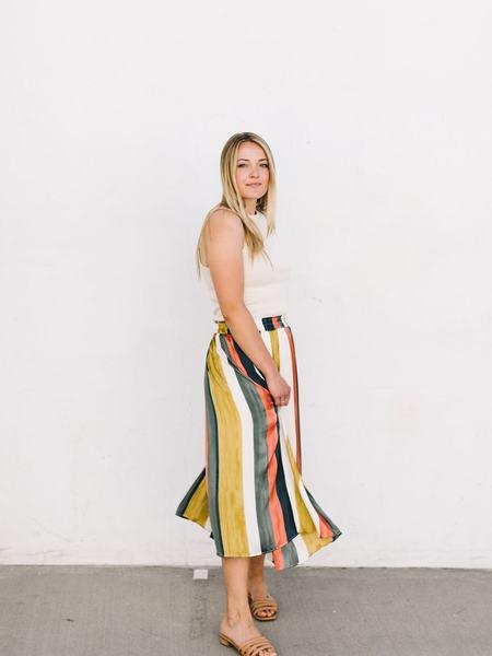 Mystree Midi Skirt - Coral/Teal Stripe