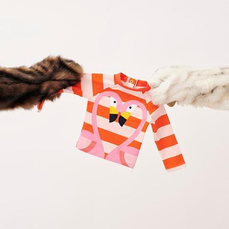 Kids Stella McCartney Swim Top With Stripes And Flamingo Print - Red