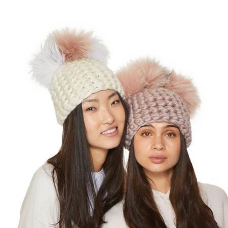 Mischa Lampert XL poms beanies - white crown/arctic pink/arctic white