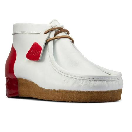 Clarks Wallabee Boot - White/Red