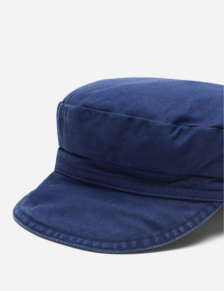 Vetra Dungaree Wash Twill French Bakerboy Cap - Navy Blue