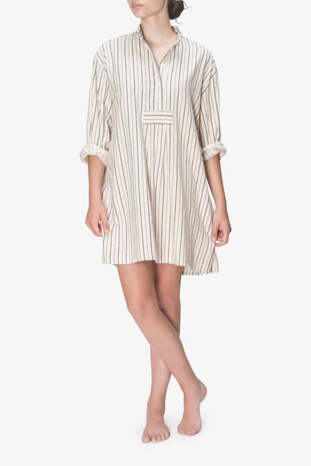 The Sleep Shirt Short Sleep Shirt Cream and Navy Stripe