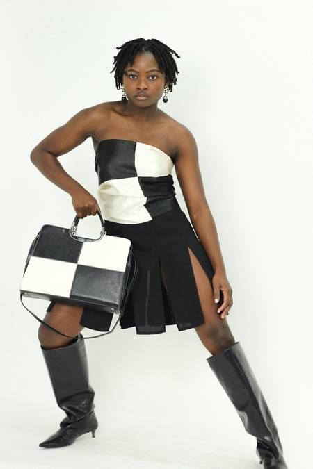 Vintage Checkerboard Handbag - black/white