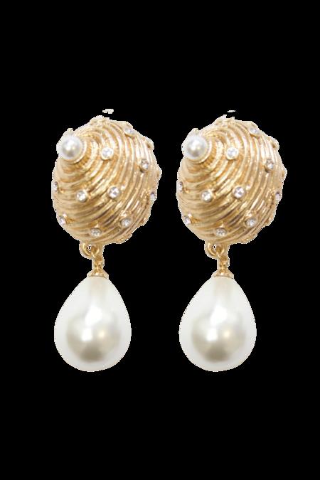 Vintage Kenneth Jay Lane Crystal & Faux Pearl Tear Drop Earrings