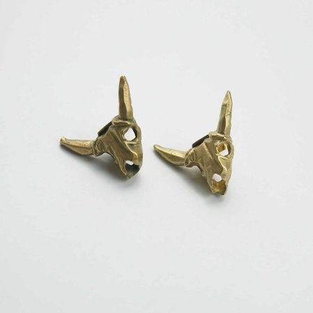 By Natalie Frigo Small Cow Skull Earrings - brass