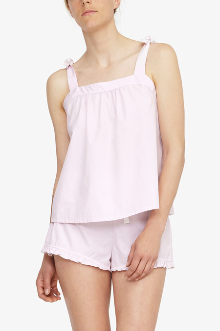 The Sleep Shirt Tie Top - Pink Skinny Stripe