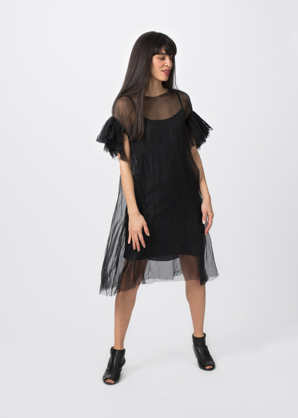 Louiza Babouryan Ruffle Sleeve Dress with Slip