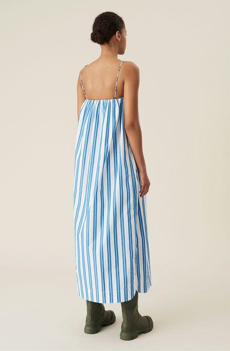 Ganni Cotton Strap Dress - Stripe