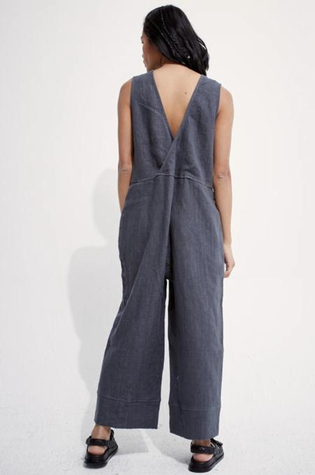 back beat rags Linen Reversible Brooklyn Jumpsuit - gray
