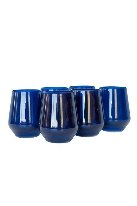 Estelle Colored Glass Stemless Wine Glasses - Midnight Blue