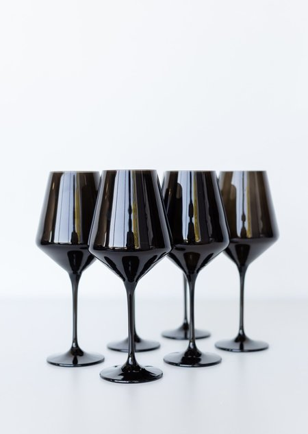 Estelle Colored Glass Wine Glasses - Black Onyx