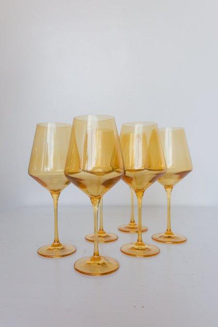 Estelle Colored Glass Wine Glasses - Yellow