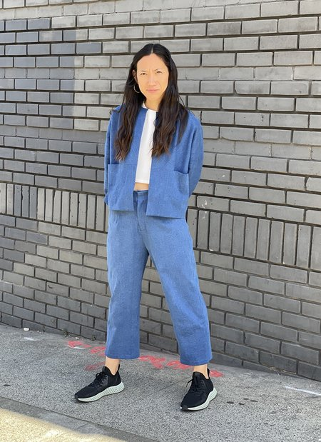 KAAREM Porcelain Dropped Sleeve Denim Zipper Jacket - Light Blue