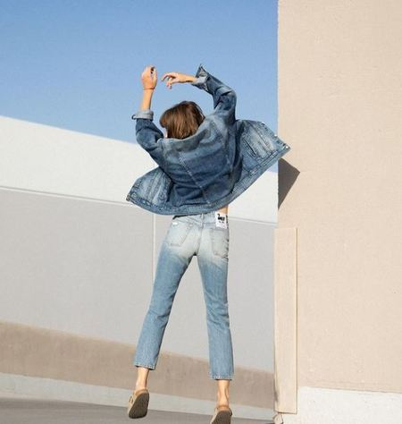 SANDRINE ROSE 'Tres Cool' Oversized Denim Jacket - blue