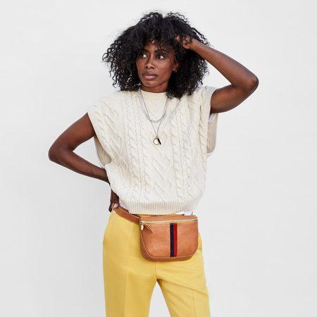 CLARE V. Fanny Pack bag - Natural/Stripes