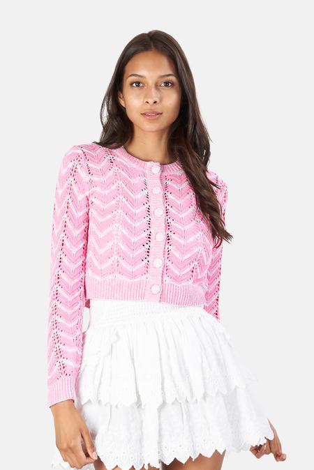 LoveShackFancy Melrose Cropped Cardigan Sweater - Amor Pink