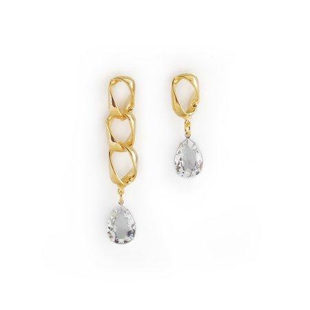 Joomi Lim Asymmetrical Chain Link Earrings W/ Crystal Charms