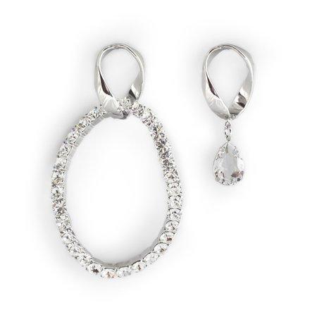 Joomi Lim Asymmetrical Giant Chain Link & Crystal Oval Earrings - Brass