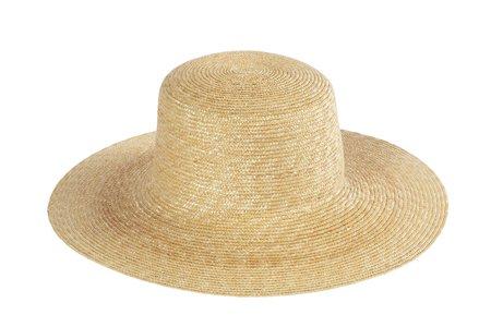 Clyde Medium Brim Flat Top Hat - Natural Straw