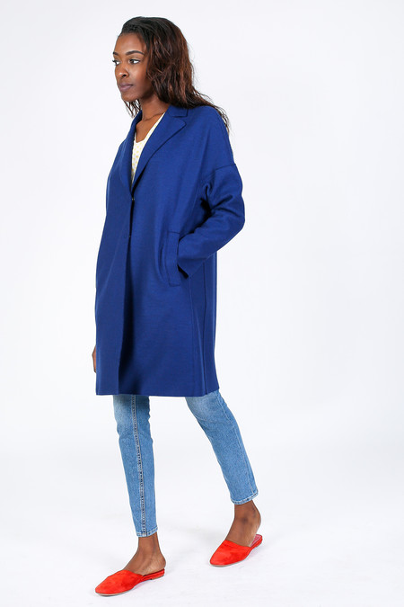 Harris Wharf London Oversized Coat in Sea Blue