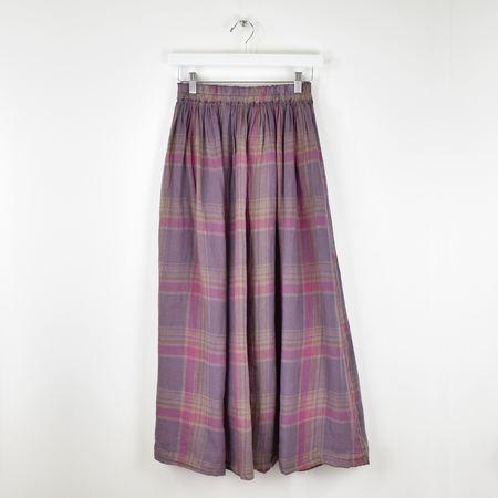 ICHI ANTIQUITES Linen Check Over Dye Skirt - VOILE MADRAS
