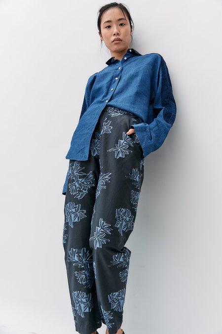[Pre-loved] Zero Maria Cornejo Embroidered Pants - Grey/Blue
