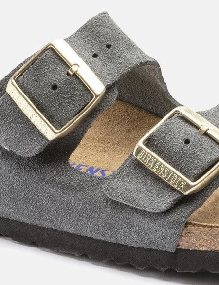 Birkenstock Arizona Suede Leather Regular Soft Footbed - Dark Grey