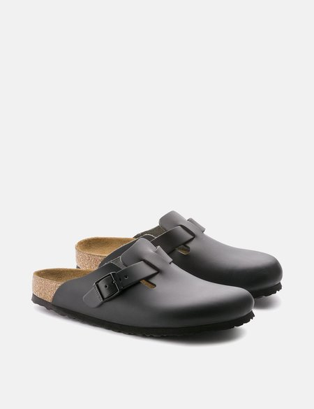 Birkenstock Boston Natural Leather Narrow Sandals - Black