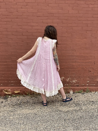 Pero Cotton lace dress - pink
