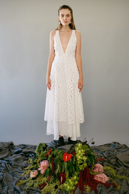 KkCo Blocked Layered Swiss Cheese Lace Slip dress - Frosted Pearl