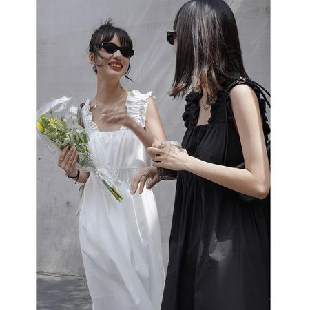 OPUSION Ruffled Sleeve Midi Dress - Black/White