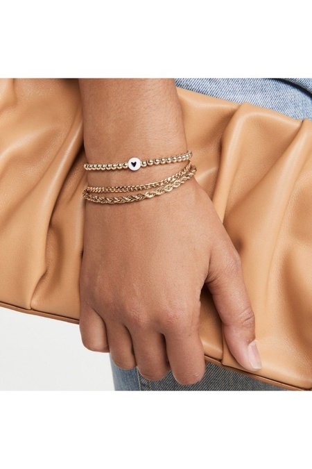 """Black Heart Gold Ball Bracelet - 7.5"""""""