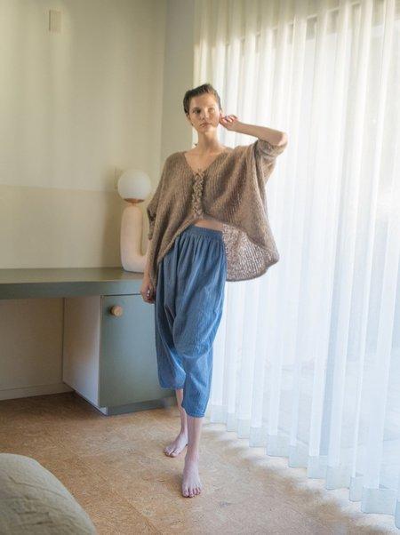 Atelier Delphine Kiko Wrinkled Cotton Pant - Steel Blue