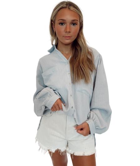 Lola Ava Gauze Button Down Puff Sleeve - Pearl Blue