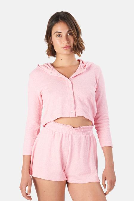 LoveShackFancy Leroy Hooded Cardigan Sweater - Pink Grace
