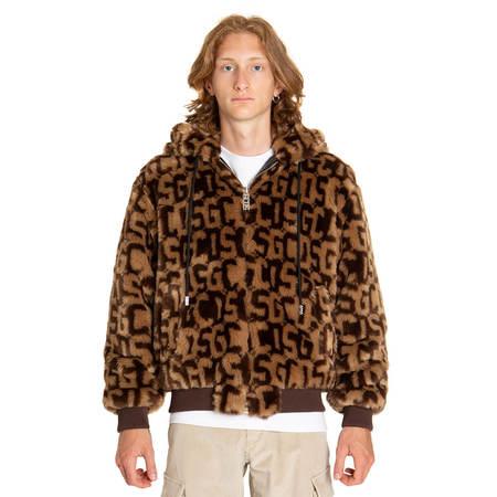 GCDS Logo fur jacket - brown