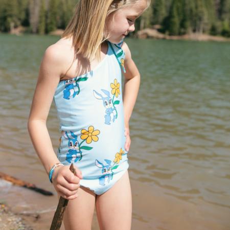 KIDS Hugo Loves Tiki Bunnies Shoulder Tie Swimsuit - BLUE