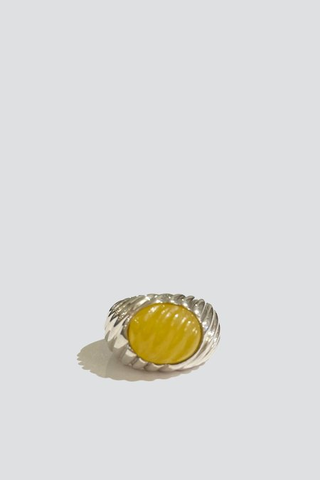 Vintage Cabochon Ring - Sterling Silver/Yellow
