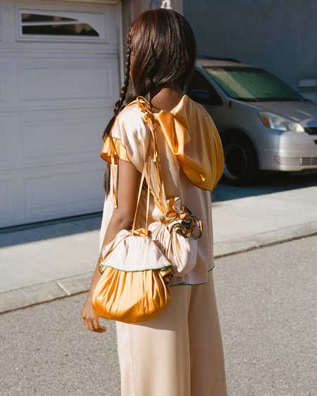 Baserange Chet Silk Pouch - Orange/Tan