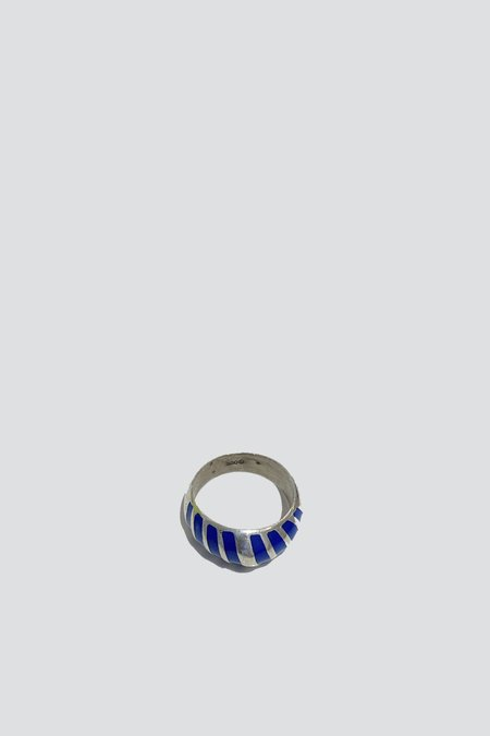 Vintage Lapis Band Ring - Sterling Silver