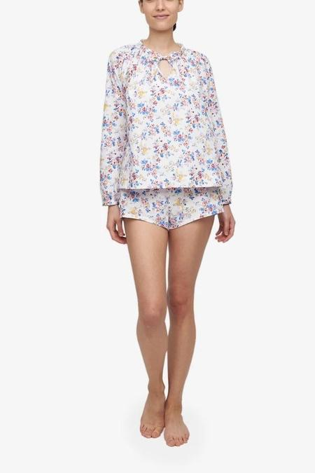 The Sleep Shirt Gathered Neck Top and Classic Short Set - Summer Floral