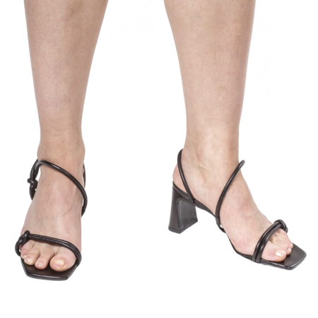 BY FAR Charlie Leather Sandals - Black